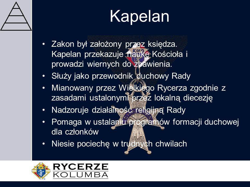 KapelanZakon był założony przez księdza. Kapelan przekazuje naukę Kościoła i prowadzi wiernych do zbawienia.