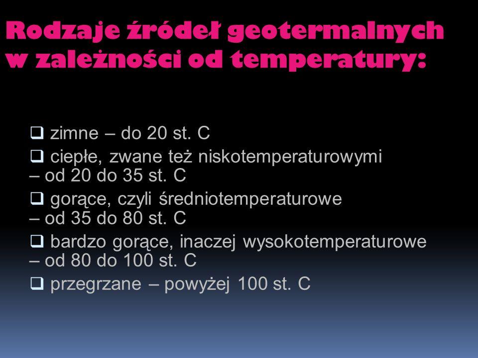 Rodzaje źródeł geotermalnych w zależności od temperatury: