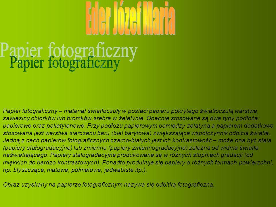 Eder Józef Maria Papier fotograficzny