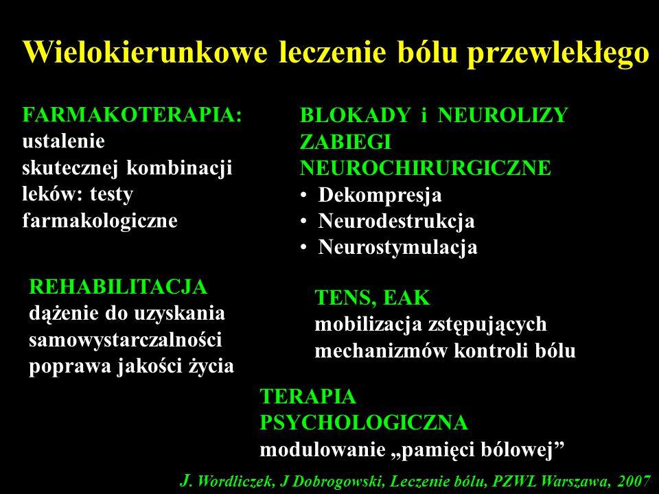 J. Wordliczek, J Dobrogowski, Leczenie bólu, PZWL Warszawa, 2007