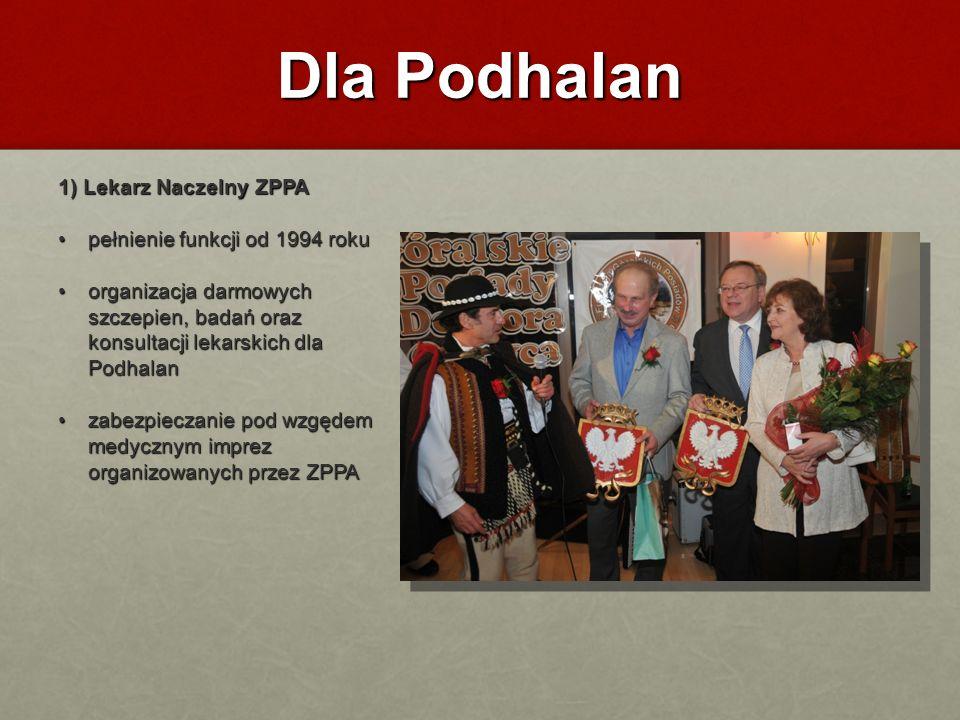 Dla Podhalan 1) Lekarz Naczelny ZPPA pełnienie funkcji od 1994 roku