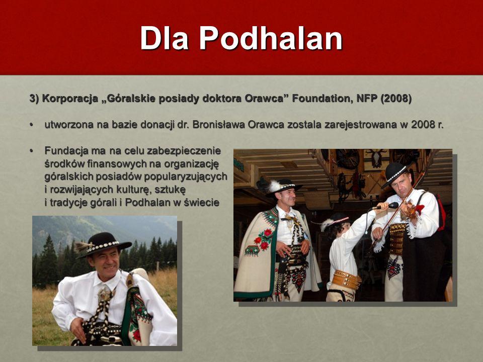 """Dla Podhalan 3) Korporacja """"Góralskie posiady doktora Orawca Foundation, NFP (2008)"""