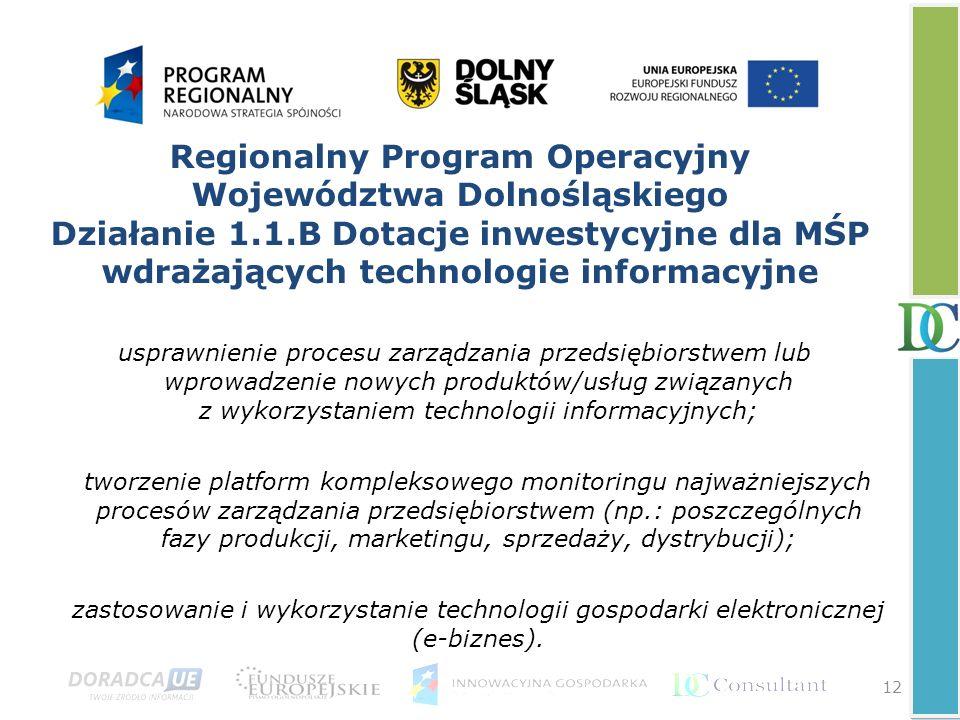 Regionalny Program Operacyjny Województwa Dolnośląskiego Działanie 1.1.B Dotacje inwestycyjne dla MŚP wdrażających technologie informacyjne