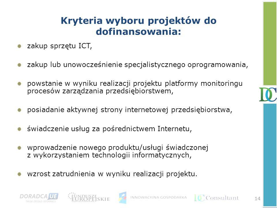 Kryteria wyboru projektów do dofinansowania: