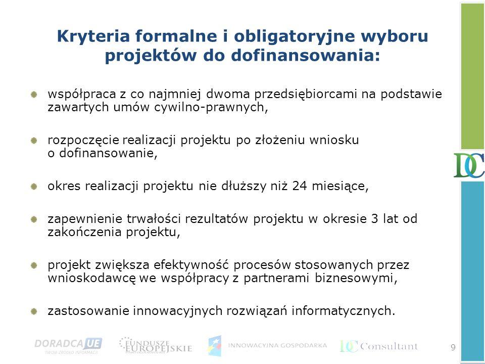 Kryteria formalne i obligatoryjne wyboru projektów do dofinansowania: