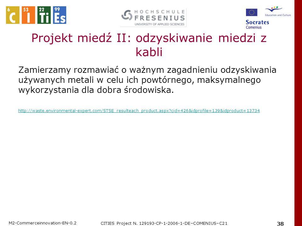 Projekt miedź II: odzyskiwanie miedzi z kabli