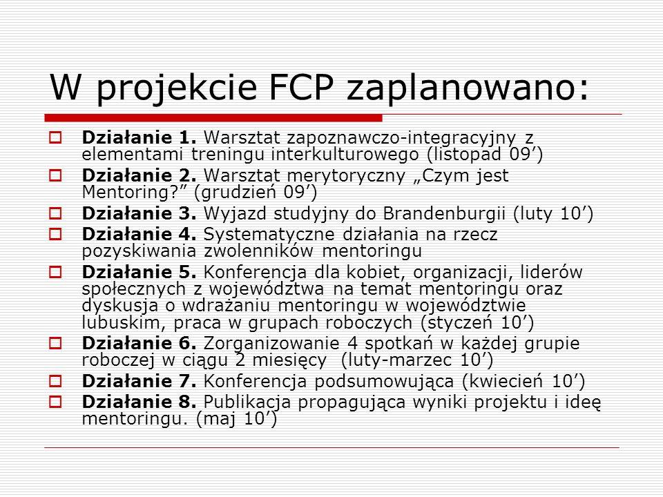 W projekcie FCP zaplanowano: