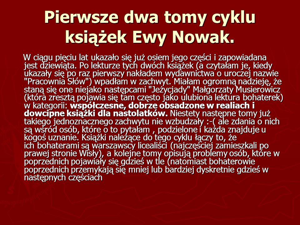 Pierwsze dwa tomy cyklu książek Ewy Nowak.
