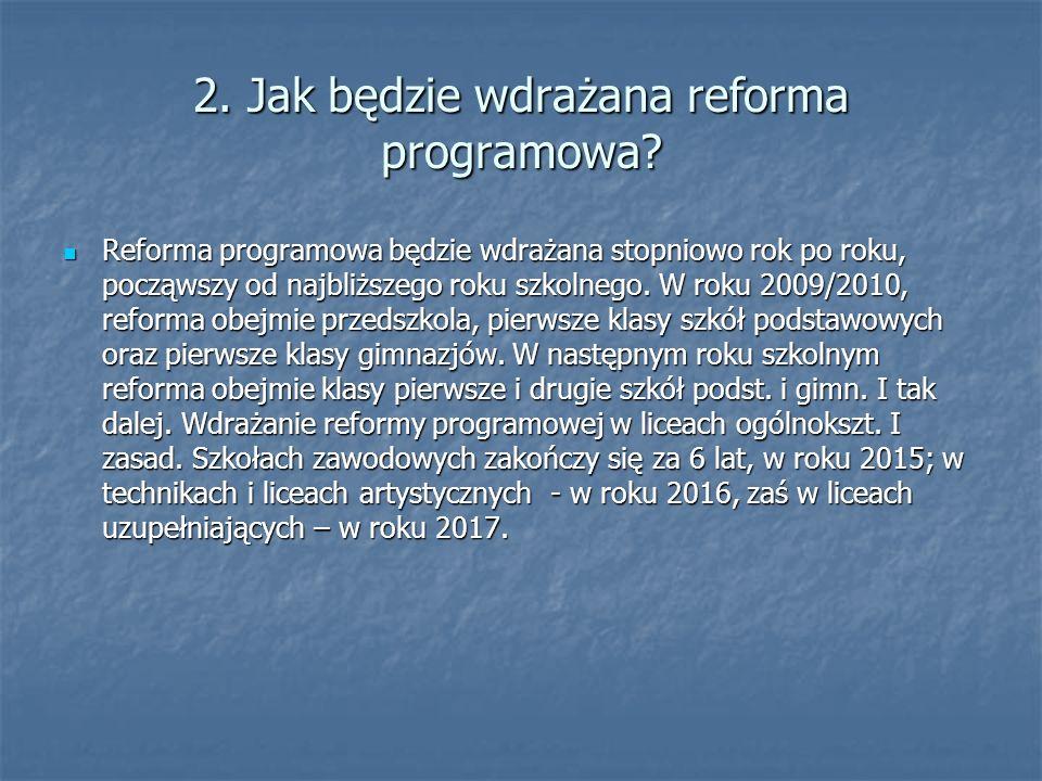 2. Jak będzie wdrażana reforma programowa