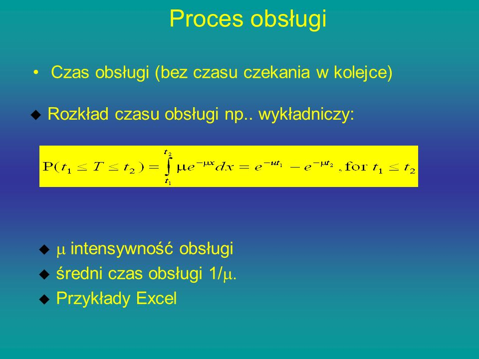 Proces obsługi Czas obsługi (bez czasu czekania w kolejce)