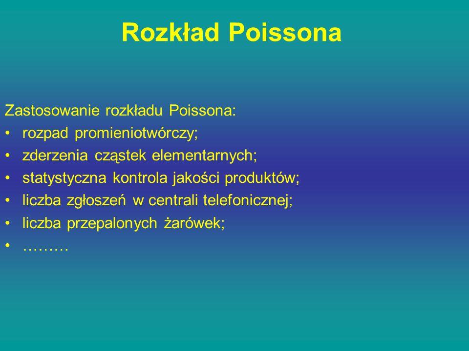 Rozkład Poissona Zastosowanie rozkładu Poissona: