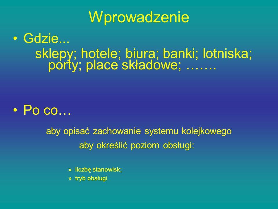 WprowadzenieGdzie... sklepy; hotele; biura; banki; lotniska; porty; place składowe; ……. Po co… aby opisać zachowanie systemu kolejkowego.