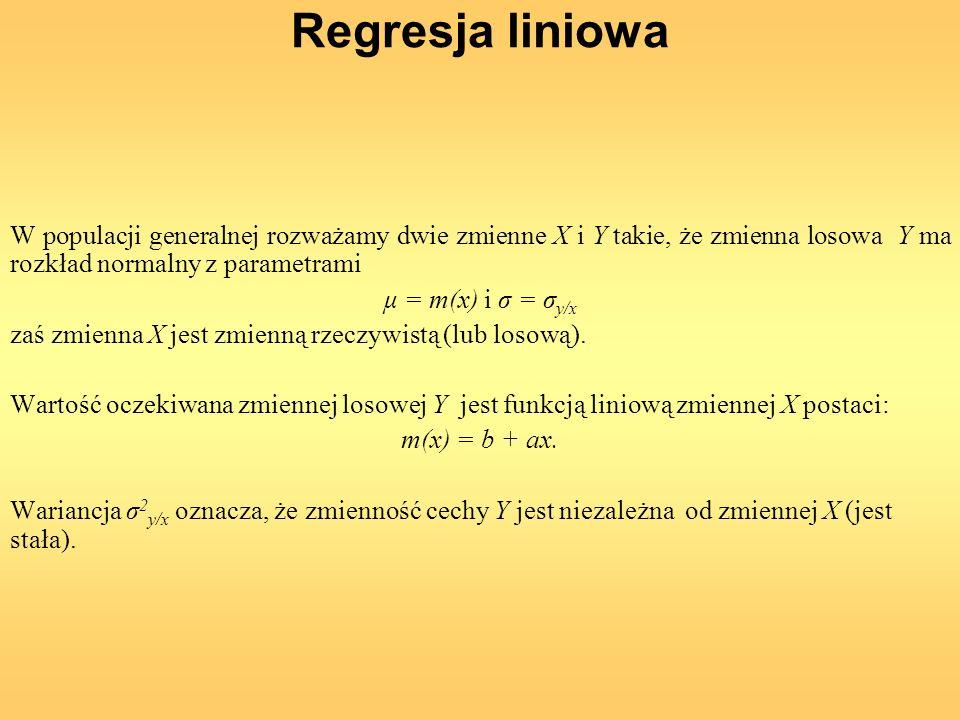 Regresja liniowa W populacji generalnej rozważamy dwie zmienne X i Y takie, że zmienna losowa Y ma rozkład normalny z parametrami.