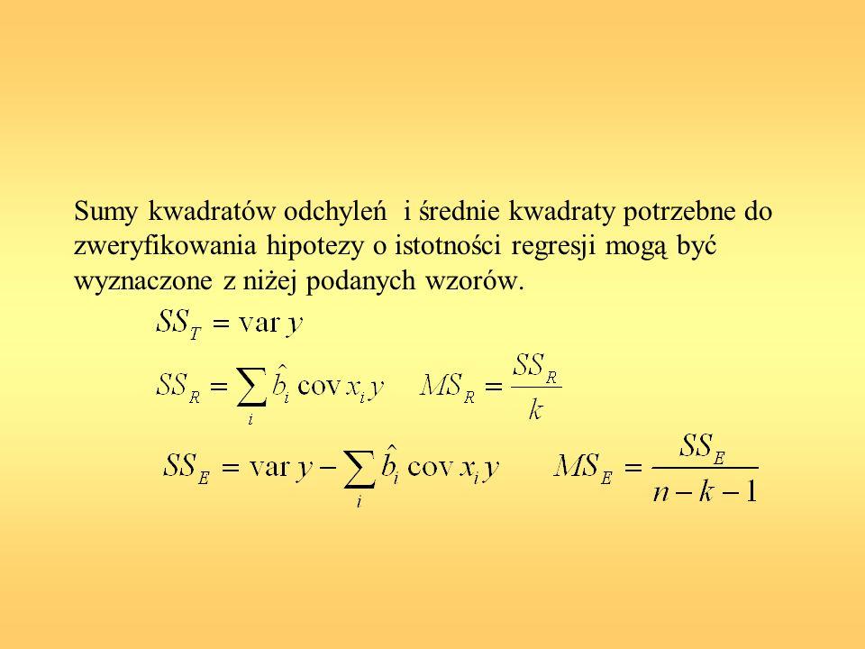 Sumy kwadratów odchyleń i średnie kwadraty potrzebne do zweryfikowania hipotezy o istotności regresji mogą być wyznaczone z niżej podanych wzorów.