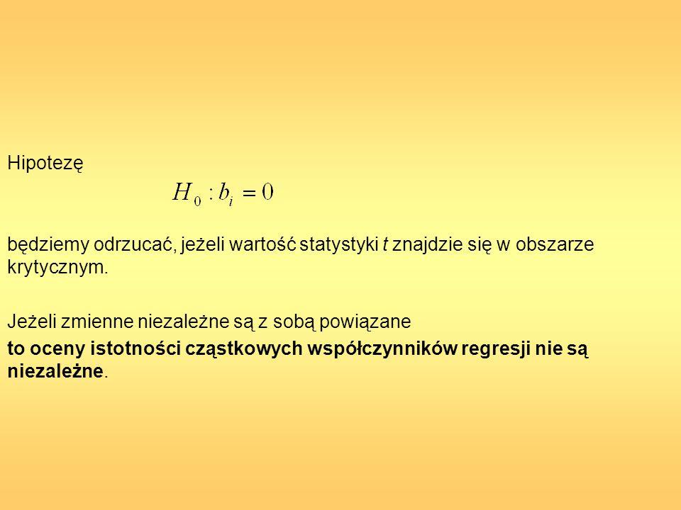 Hipotezę będziemy odrzucać, jeżeli wartość statystyki t znajdzie się w obszarze krytycznym. Jeżeli zmienne niezależne są z sobą powiązane.
