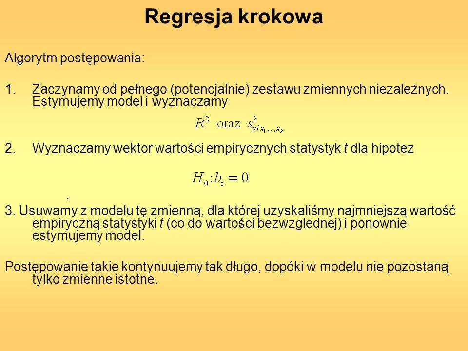 Regresja krokowa Algorytm postępowania: