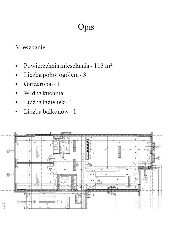 Opis Mieszkanie Powierzchnia mieszkania - 113 m2