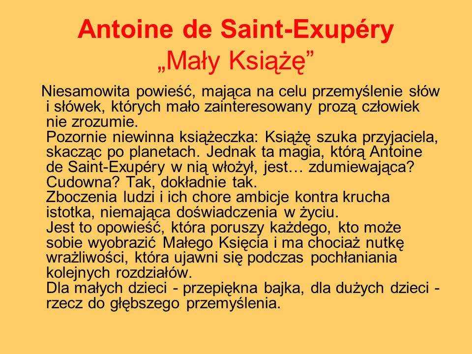 "Antoine de Saint-Exupéry ""Mały Książę"