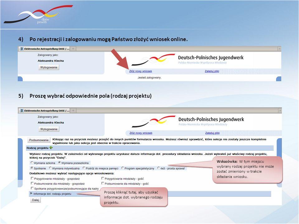 4) Po rejestracji i zalogowaniu mogą Państwo złożyć wniosek online.