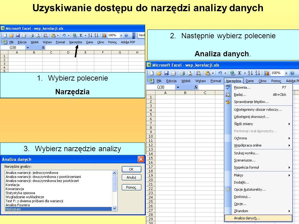 Uzyskiwanie dostępu do narzędzi analizy danych