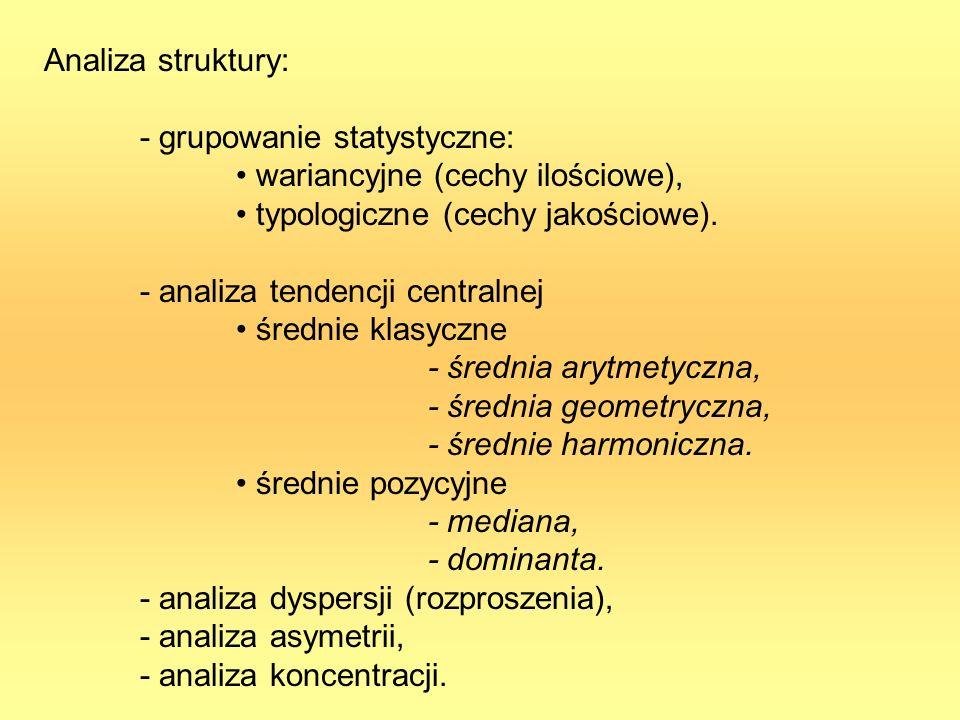 Analiza struktury: - grupowanie statystyczne: wariancyjne (cechy ilościowe), typologiczne (cechy jakościowe).
