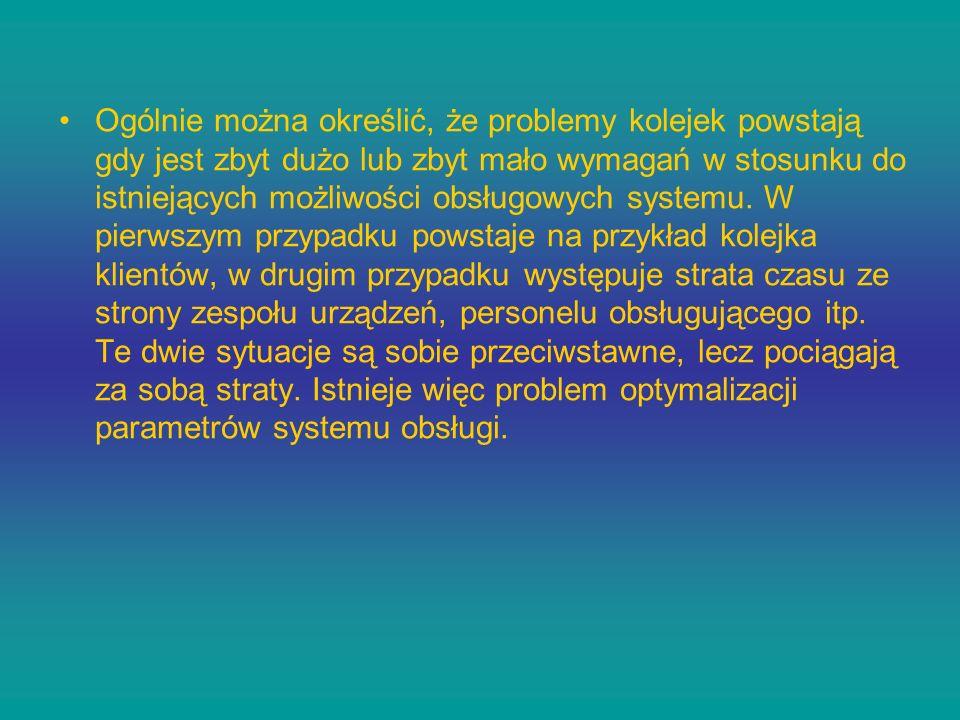Ogólnie można określić, że problemy kolejek powstają gdy jest zbyt dużo lub zbyt mało wymagań w stosunku do istniejących możliwości obsługowych systemu.