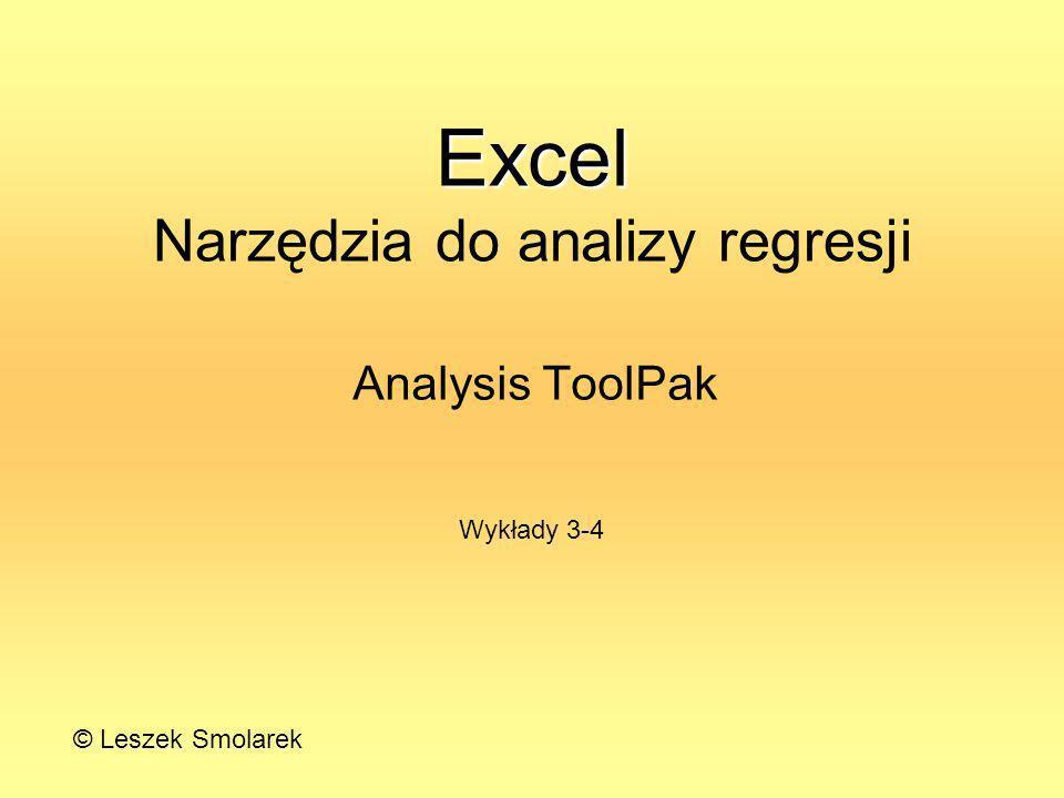 Excel Narzędzia do analizy regresji