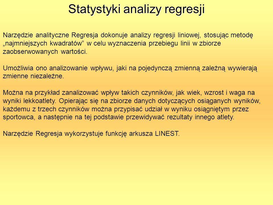 Statystyki analizy regresji