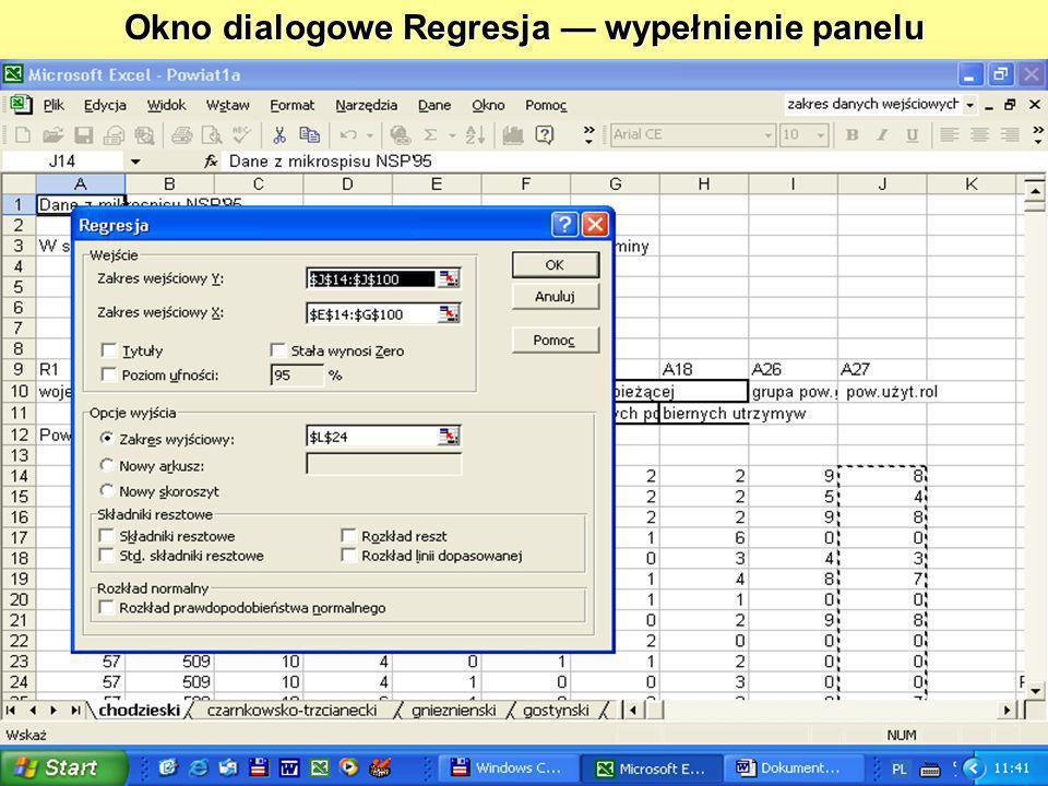 Okno dialogowe Regresja — wypełnienie panelu