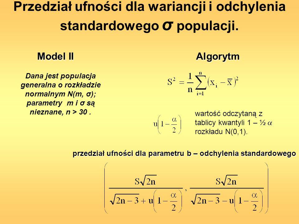 Przedział ufności dla wariancji i odchylenia standardowego σ populacji.