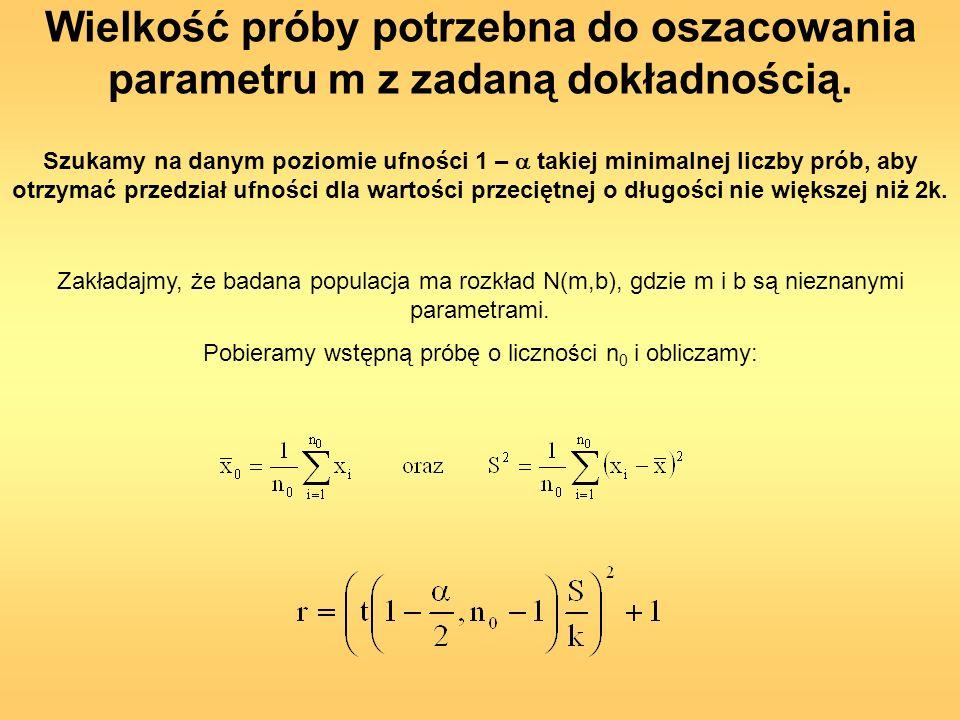 Pobieramy wstępną próbę o liczności n0 i obliczamy: