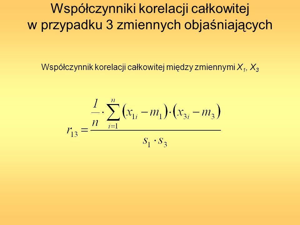 Współczynnik korelacji całkowitej między zmiennymi X1, X3