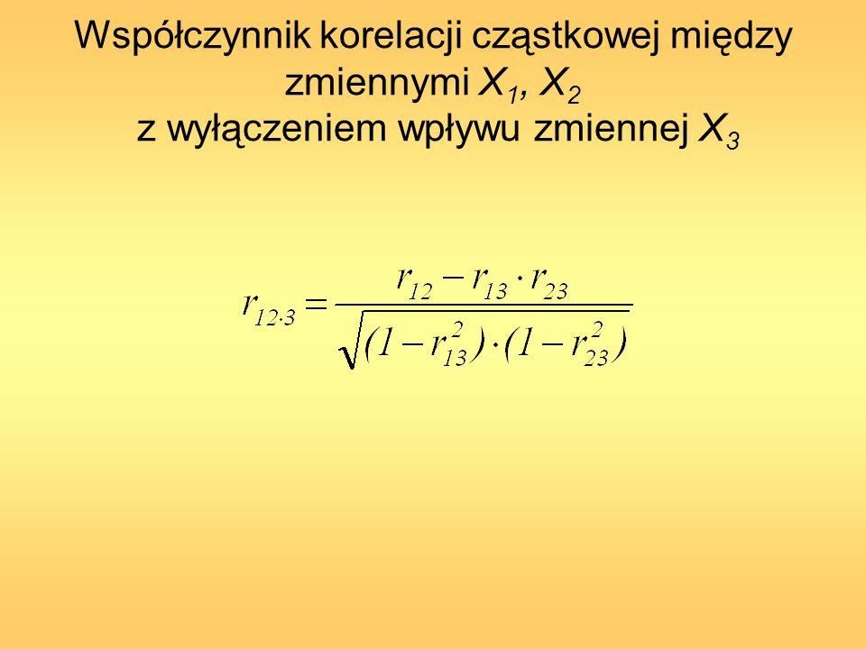 Współczynnik korelacji cząstkowej między zmiennymi X1, X2 z wyłączeniem wpływu zmiennej X3