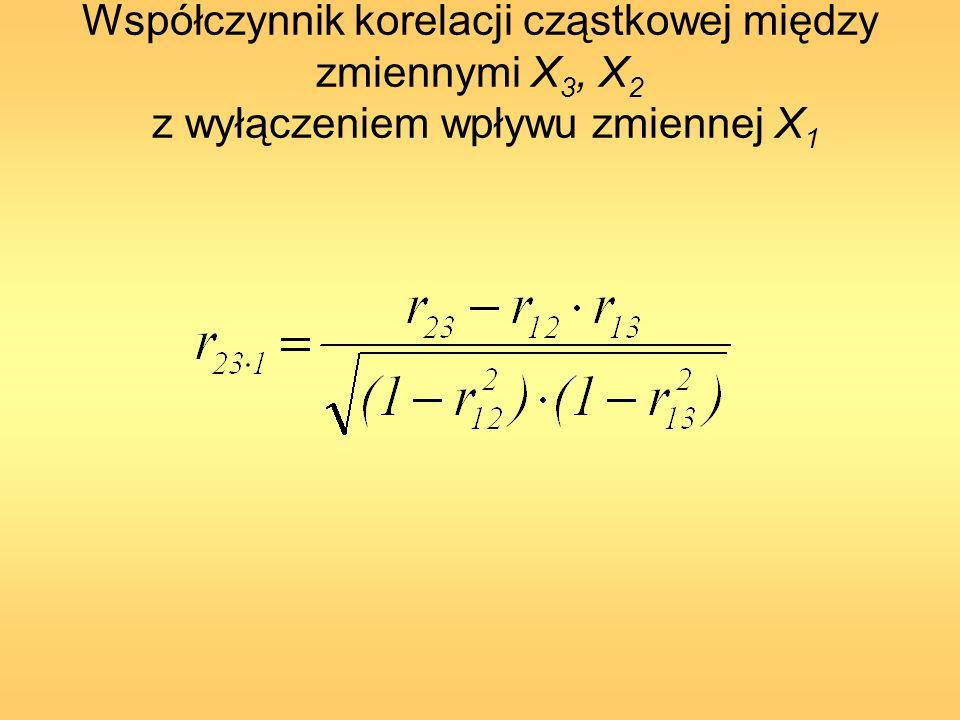 Współczynnik korelacji cząstkowej między zmiennymi X3, X2 z wyłączeniem wpływu zmiennej X1