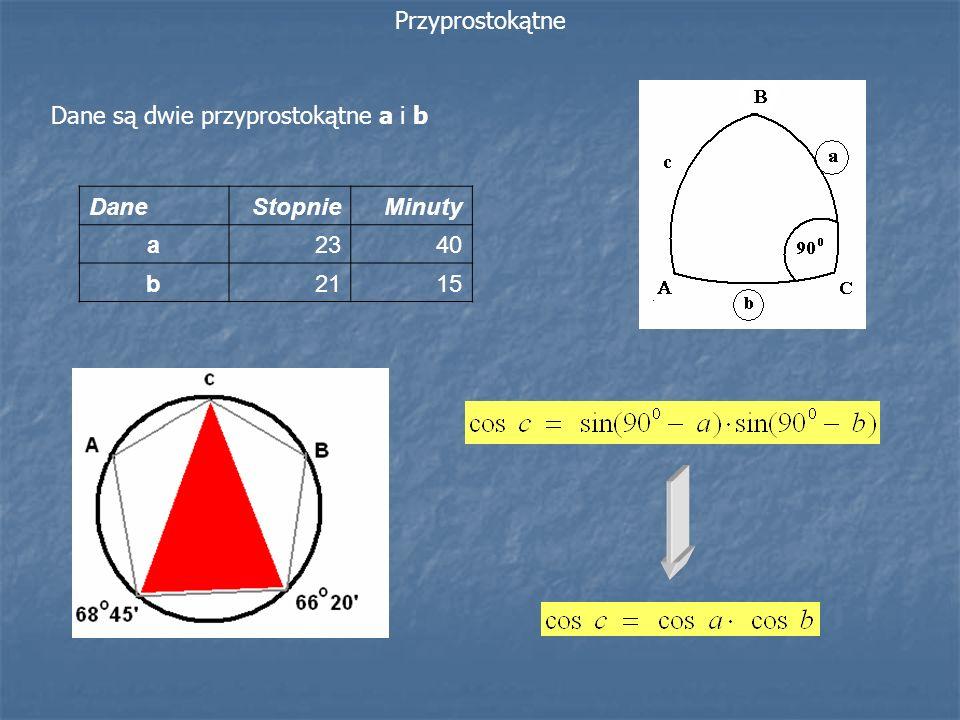 Przyprostokątne Dane są dwie przyprostokątne a i b Dane Stopnie Minuty a 23 40 b 21 15