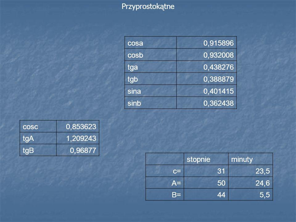 Przyprostokątne cosa. 0,915896. cosb. 0,932008. tga. 0,438276. tgb. 0,388879. sina. 0,401415.
