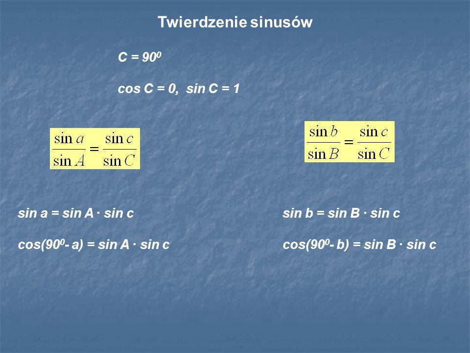Twierdzenie sinusów C = 900 cos C = 0, sin C = 1 sin a = sin A · sin c