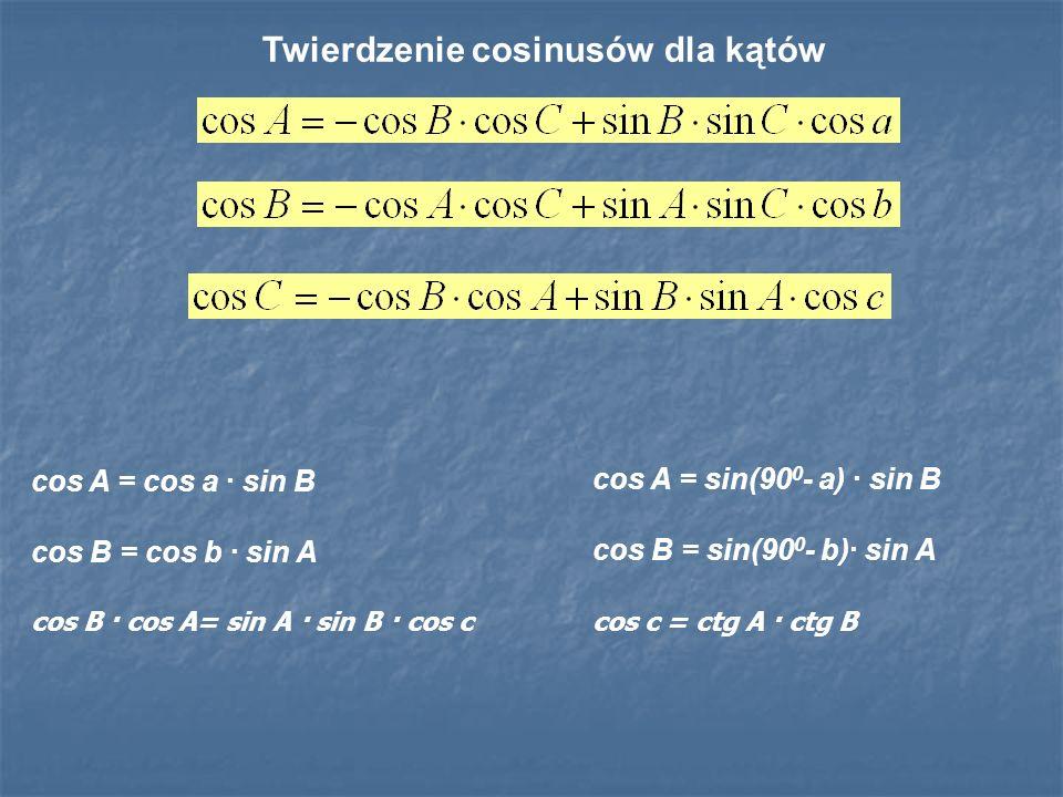 Twierdzenie cosinusów dla kątów