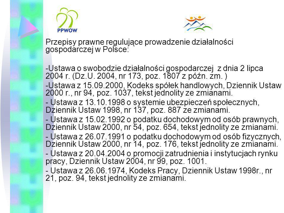 Przepisy prawne regulujące prowadzenie działalności gospodarczej w Polsce: