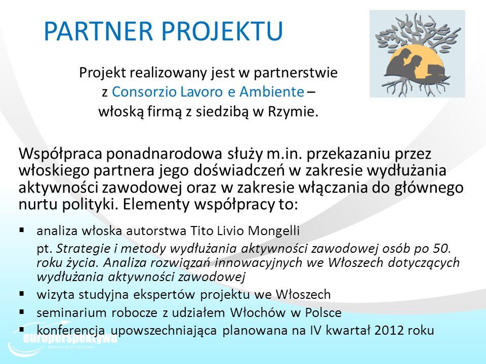 PARTNER PROJEKTU Projekt realizowany jest w partnerstwie z Consorzio Lavoro e Ambiente – włoską firmą z siedzibą w Rzymie.