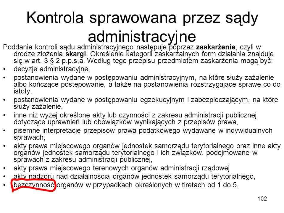 Kontrola sprawowana przez sądy administracyjne
