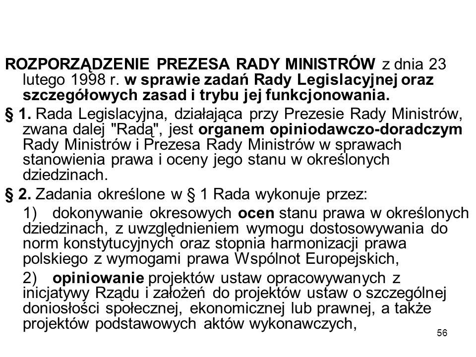 ROZPORZĄDZENIE PREZESA RADY MINISTRÓW z dnia 23 lutego 1998 r