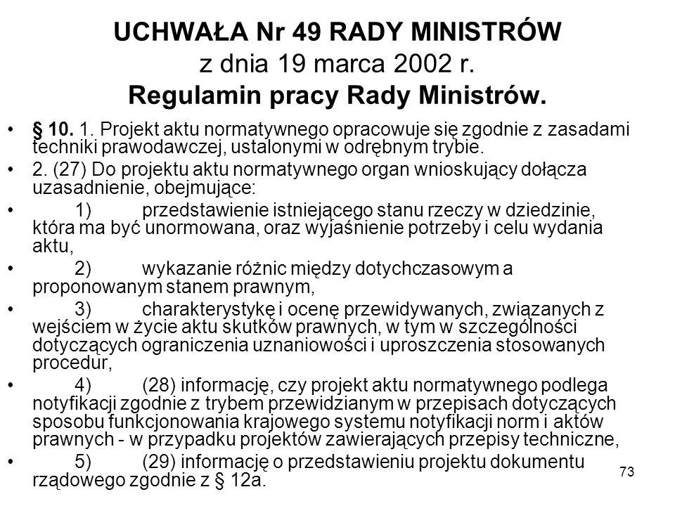 UCHWAŁA Nr 49 RADY MINISTRÓW z dnia 19 marca 2002 r