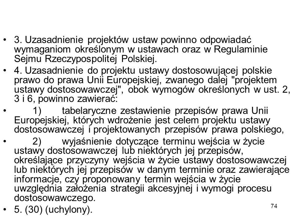 3. Uzasadnienie projektów ustaw powinno odpowiadać wymaganiom określonym w ustawach oraz w Regulaminie Sejmu Rzeczypospolitej Polskiej.