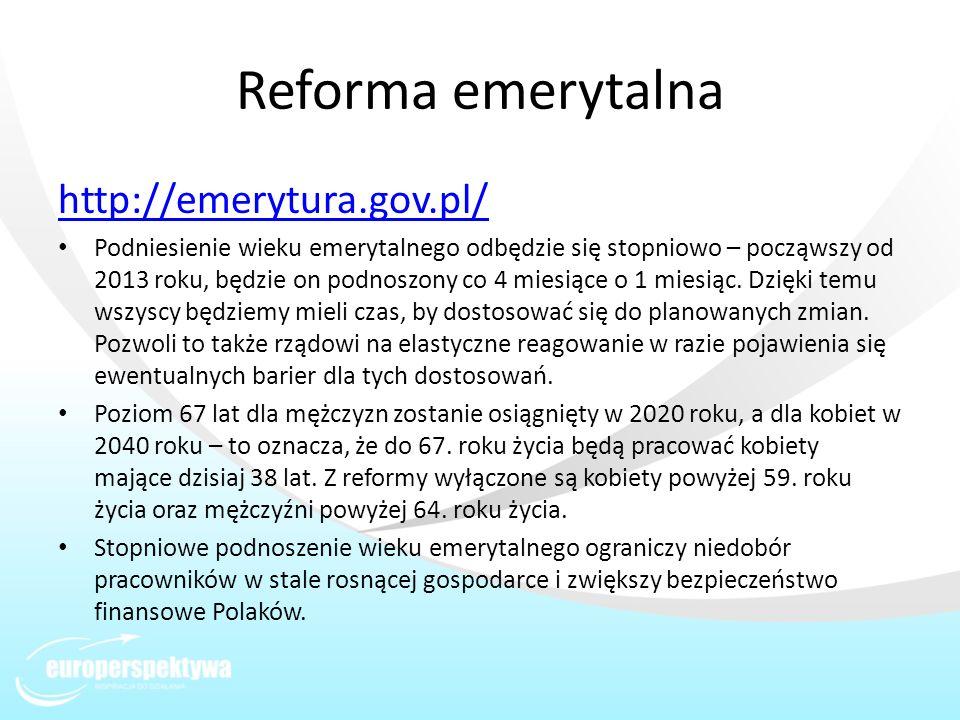 Reforma emerytalna http://emerytura.gov.pl/
