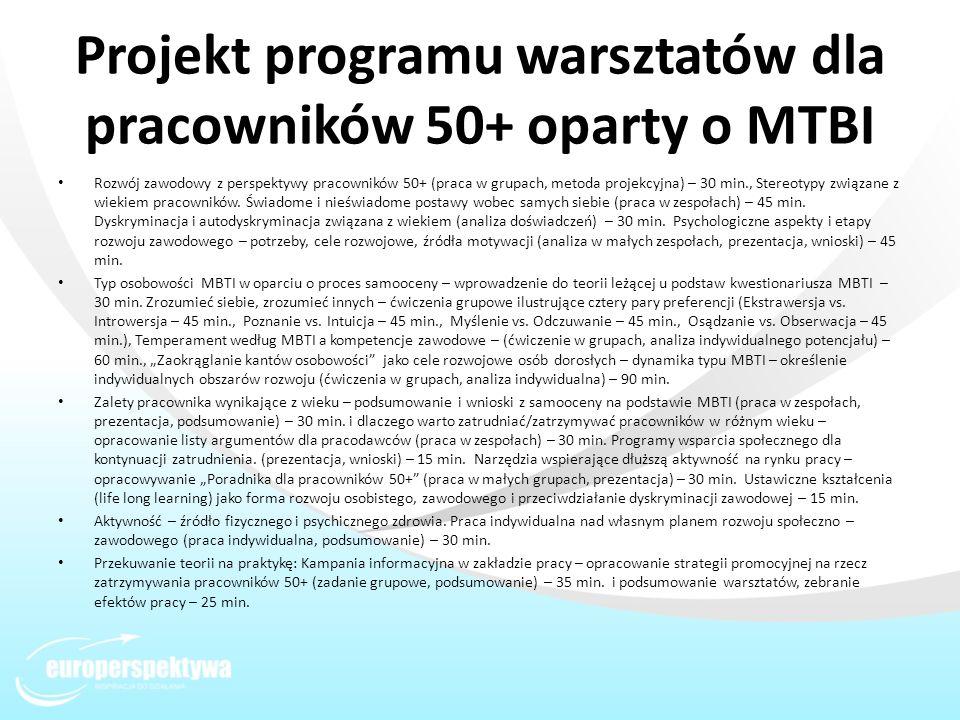 Projekt programu warsztatów dla pracowników 50+ oparty o MTBI