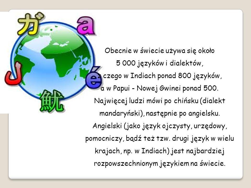 Obecnie w świecie używa się około 5 000 języków i dialektów, z czego w Indiach ponad 800 języków, a w Papui - Nowej Gwinei ponad 500.