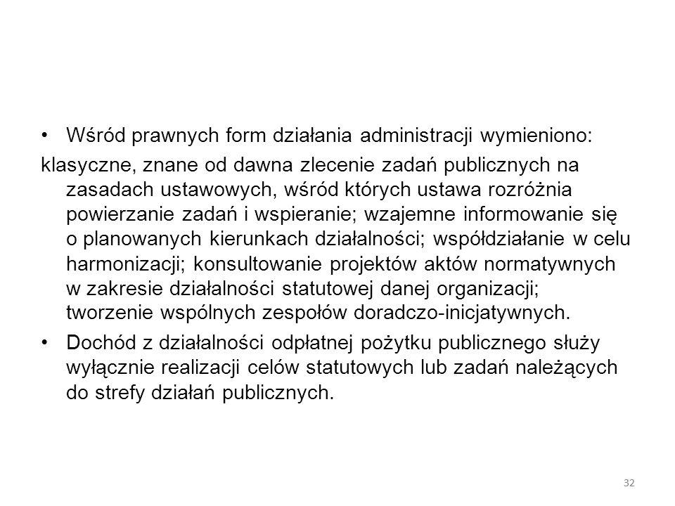 Wśród prawnych form działania administracji wymieniono: