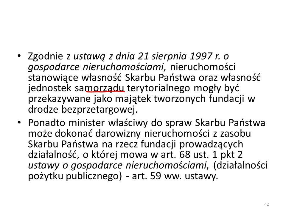 Zgodnie z ustawą z dnia 21 sierpnia 1997 r