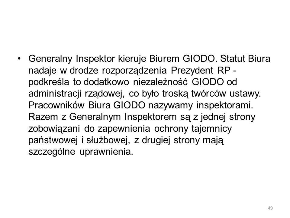 Generalny Inspektor kieruje Biurem GIODO